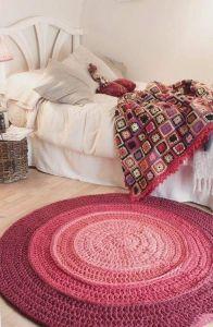 Red crochet area rug