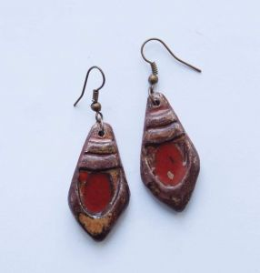 """Red earrings """"Clay chic"""""""