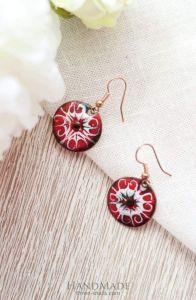 "Red earrings ""Unique pattern"""