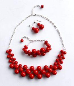 "Red necklace set ""Barbara"""