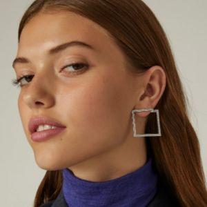 Rhodium-plated silver earrings