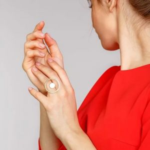 Round chunky gold plated ring