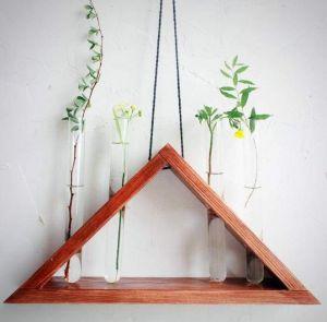 "Rustic hanging laboratory triangle vase ""City jungle"""