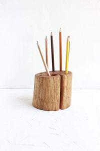 "Rustic pen holder ""The power of oak"""