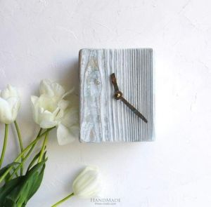 """Rustic wood wall clock large """"Time for change"""""""