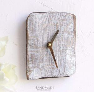 """Rustic wood wall clock small """"Time to act"""""""