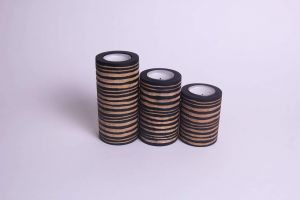 Set of 3 black centerpiece wooden candle holders