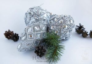 """Set of Christmas tree toys """"Silver Frost"""""""