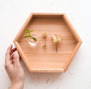 "Small wooden hexagon tray ""Tesselar pattern"""