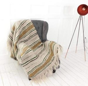 """Striped wool throw for sofa """"Gray and olive stripes"""""""