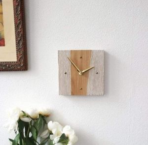 """Stylish modern wooden wall clock """"Beige and white stripes"""""""
