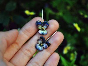 """Summer silver earrings """"Enamel pansies"""""""