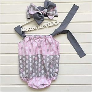 Toddler girl cotton romper with headband