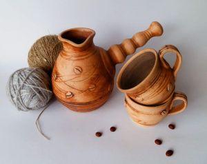 "Turkish coffee pots and mugs set ""Coffee break"""