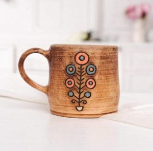 """Unique pottery tea cup """"The Tree of Life"""""""
