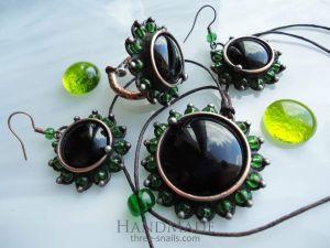 "Vintage jewelry set ""Black emerald"""