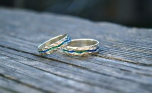 """Wedding bands with enamel """"Blue River"""""""