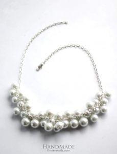 """White bead necklace """"Oceana"""""""