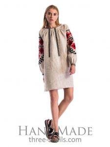 """White linen dress """"Floral ornament"""""""