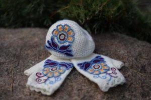 """Winter ear muffs and mittens set """"Winter flowers"""""""