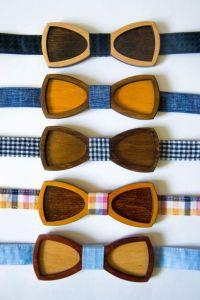 Wood bow tie novelty