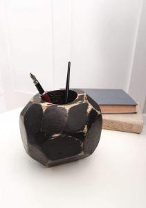 """Wood Fountain Pen Holder """"Black ball"""""""
