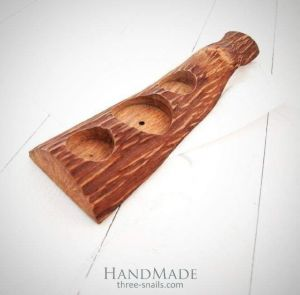 """Wood glass holder """"Rustic texture"""""""