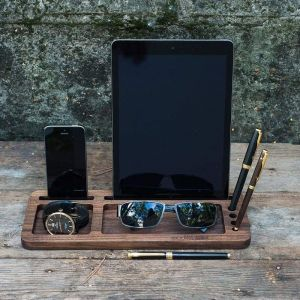 """Wood organizer """"Stand for your tablet and smartphone"""""""