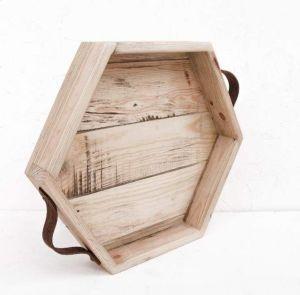 "Wood serving tray ""Hexagon"""
