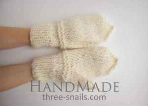 "Wool mittens ""Cream"""