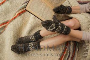 "Wool set mittens and socks ""Home coziness"""