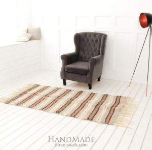 "Woven hallway runner rug ""Red stripes"""