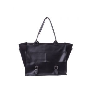 Big black leather tote bag