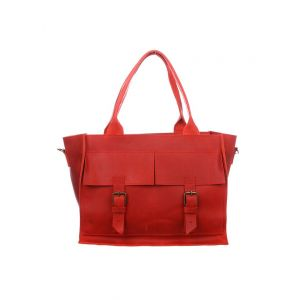 Shiny red handbag