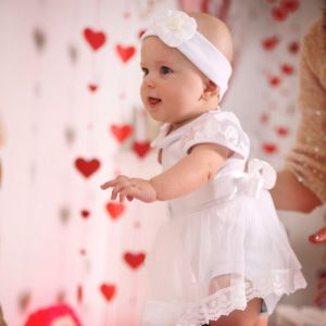 Christening romper dress baby girl set