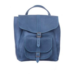 Blue leather rucksack