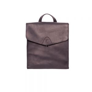 Square leather rucksack