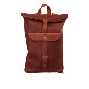 Brown leather knapsack