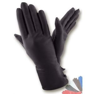 Fur lined leather gloves