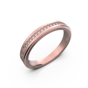 Rose gold diamond wedding band for her 0,076 carat