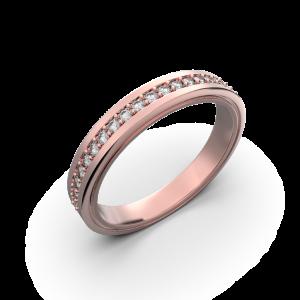 Womens diamond wedding band in rose gold 0,164 carat