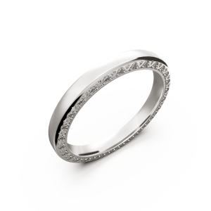 White gold diamond wedding band for her 0,224 carat