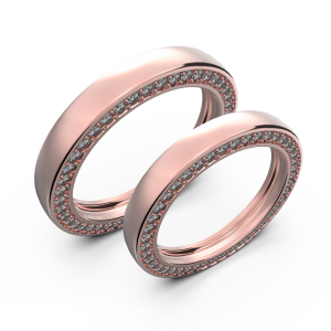 Diamond wedding band set in rose gold