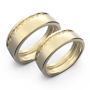 Yellow gold wide wedding band set