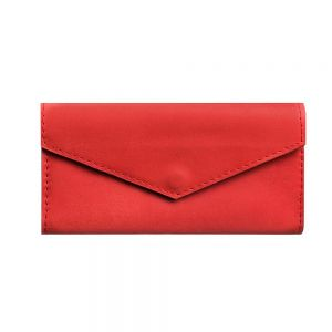 Red genuine leather bifold