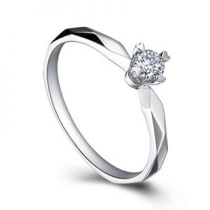 Gold engagement diamond ring