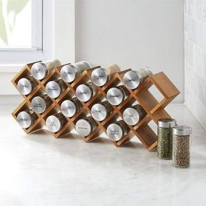 18-Jar Wood Spice Rack
