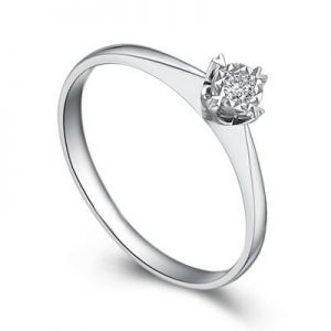 Ladies engagement ring with round diamond