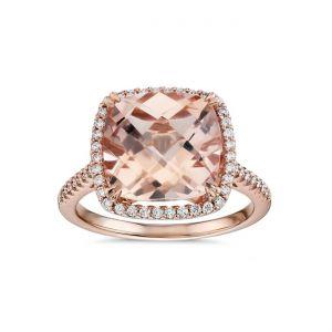 Cushion cut morganite ring with diamonds