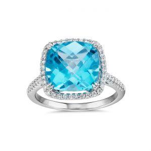 Cushion cut Swiss blue topaz and diamonds ring
